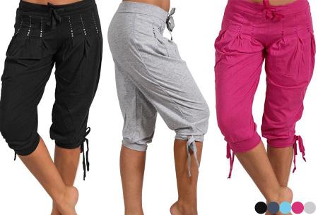 Dames driekwart broek | Trendy korte broek met diamantjes