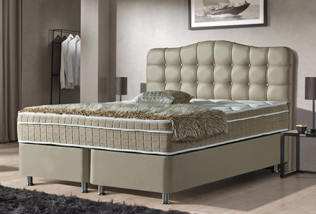 Boxspring met opbergruimte | Met pocketvering matras en luxe hoofdbord Taupe