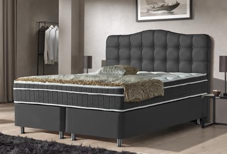 Boxspring met opbergruimte | Met pocketvering matras en luxe hoofdbord Zwart