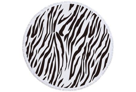 Rond kleed met dierenprint | Vrolijke strandhanddoek van zacht badstof #3 Zebra