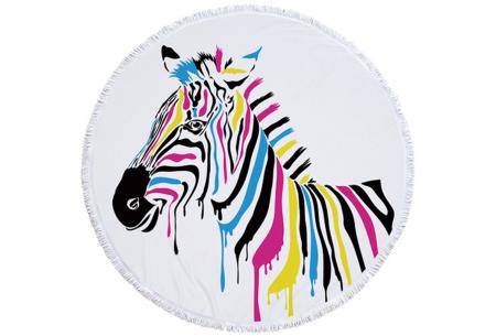 Rond kleed met dierenprint | Vrolijke strandhanddoek van zacht badstof #6 Gekleurde zebra