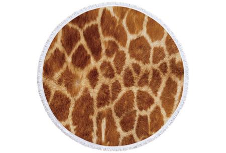 Rond kleed met dierenprint | Vrolijke strandhanddoek van zacht badstof #8 Giraffe