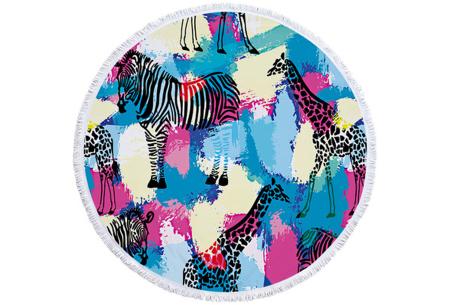 Rond kleed met dierenprint | Vrolijke strandhanddoek van zacht badstof #11 Zebra en giraffes