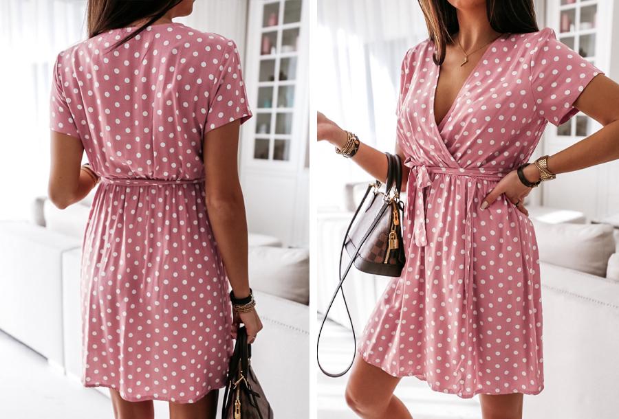 Polkadot jurken - Kort - Maat S - Roze