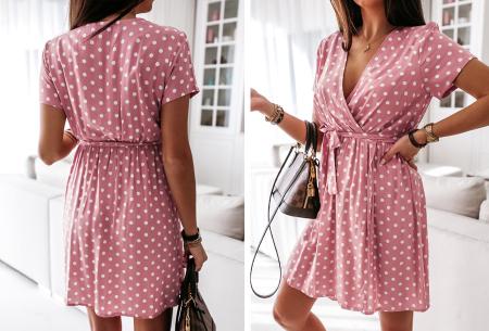 Polkadot jurken | Kies uit een maxi jurk of korte jurk - In diverse kleuren Kort - roze