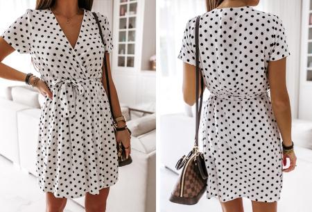 Polkadot jurken | Kies uit een maxi jurk of korte jurk - In diverse kleuren Kort - wit