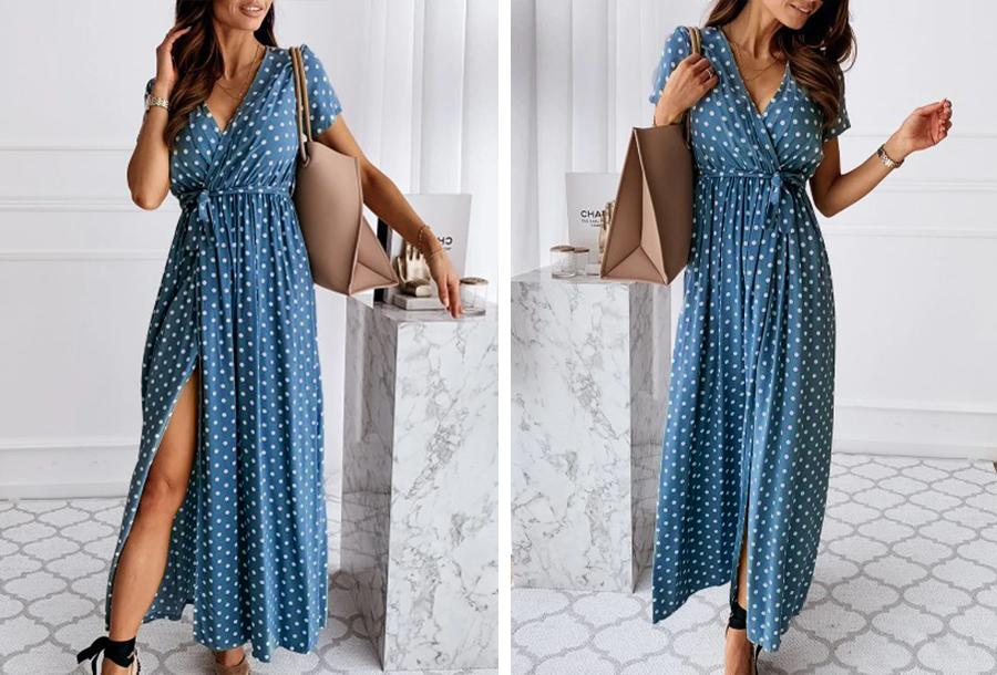 Polkadot jurken - Lang - Maat XL - Blauw