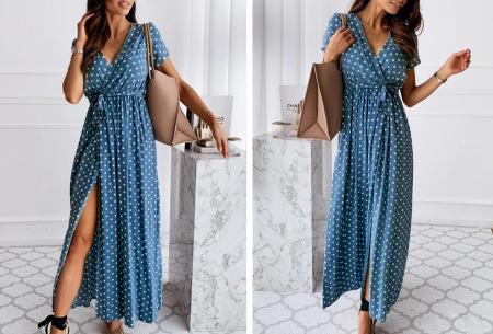 Polkadot jurken | Kies uit een maxi jurk of korte jurk - In diverse kleuren Lang - blauw