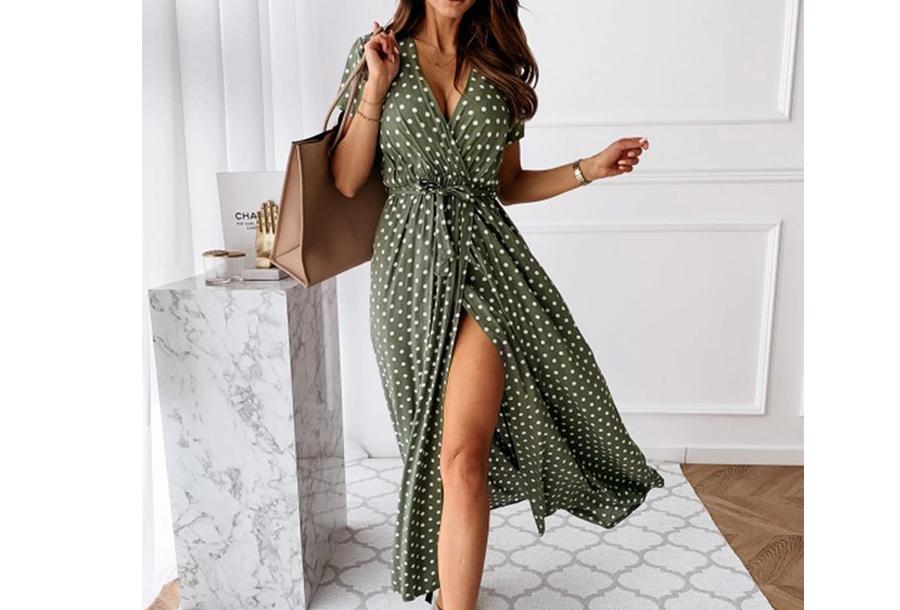 Polkadot jurken - Lang - Maat S - Groen