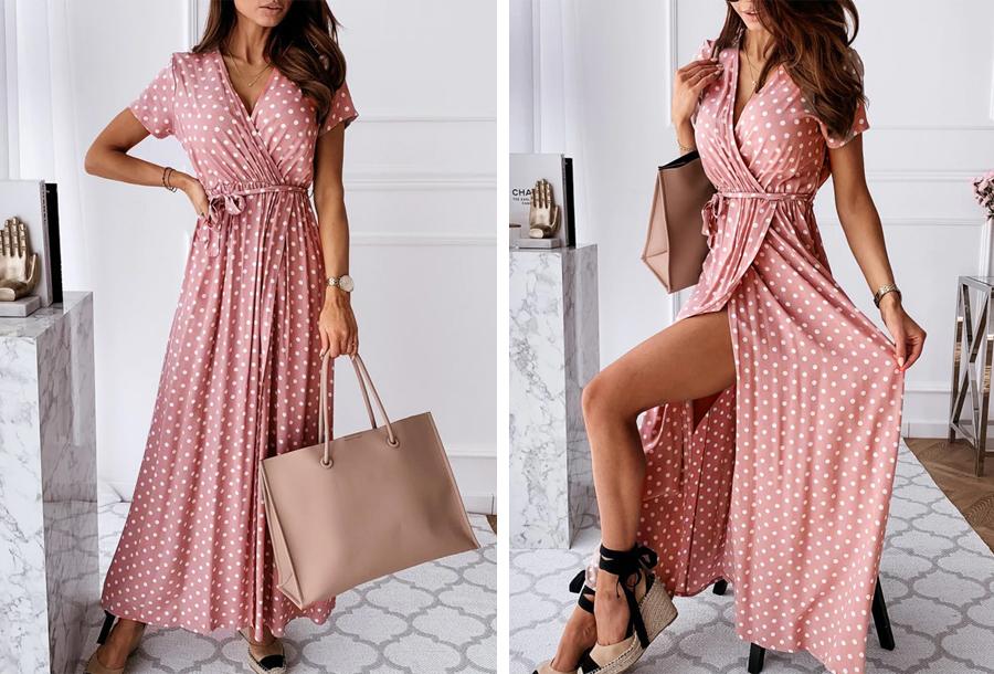 Polkadot jurken - Lang - Maat L - Roze