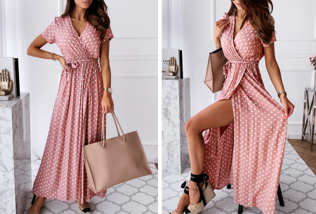 Polkadot jurken | Kies uit een maxi jurk of korte jurk - In diverse kleuren Lang - roze