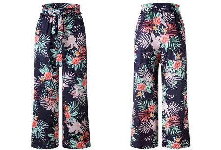 Pantalon voor dames | Wijde tricot broek met print  Donkerblauw