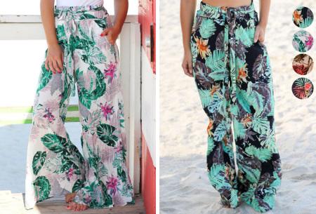 Pantalon voor dames | Wijde tricot broek met print