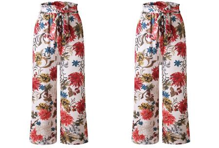Pantalon voor dames | Wijde tricot broek met print  Roze
