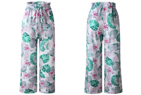 Pantalon voor dames | Wijde tricot broek met print  Wit