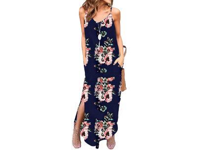 Maxi jurk met split | Lange zomerjurk in effen kleuren of vrolijke bloemenprintjes  #A