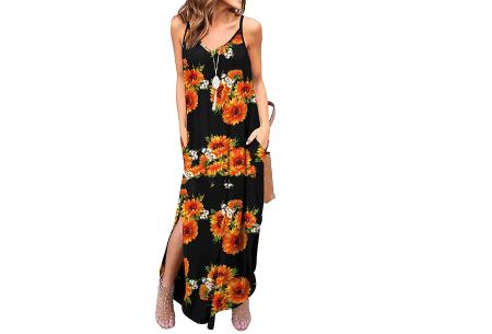 Maxi jurk met split | Lange zomerjurk in effen kleuren of vrolijke bloemenprintjes  #B