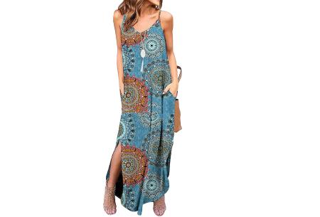 Maxi jurk met split | Lange zomerjurk in effen kleuren of vrolijke bloemenprintjes  #C