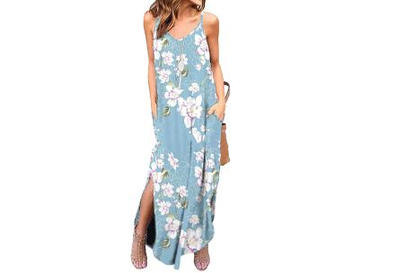 Maxi jurk met split | Lange zomerjurk in effen kleuren of vrolijke bloemenprintjes  #D