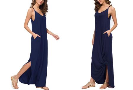Maxi jurk met split | Lange zomerjurk in effen kleuren of vrolijke bloemenprintjes  Donkerblauw