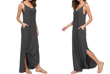 Maxi jurk met split | Lange zomerjurk in effen kleuren of vrolijke bloemenprintjes  Donkergrijs