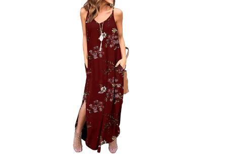 Maxi jurk met split | Lange zomerjurk in effen kleuren of vrolijke bloemenprintjes  #E
