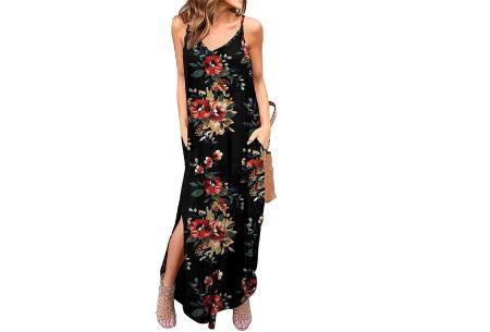 Maxi jurk met split | Lange zomerjurk in effen kleuren of vrolijke bloemenprintjes  #F