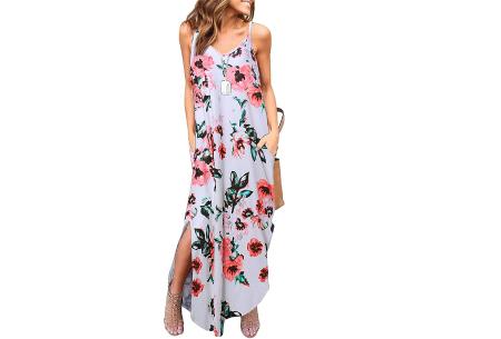 Maxi jurk met split | Lange zomerjurk in effen kleuren of vrolijke bloemenprintjes  #G