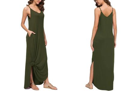 Maxi jurk met split | Lange zomerjurk in effen kleuren of vrolijke bloemenprintjes  Groen