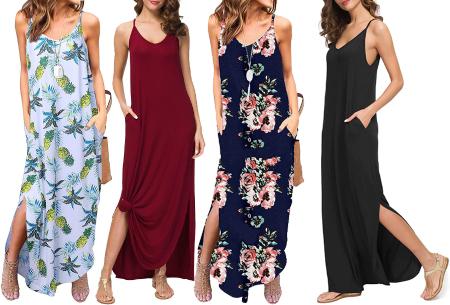 Maxi jurk met split | Lange zomerjurk in effen kleuren of vrolijke bloemenprintjes