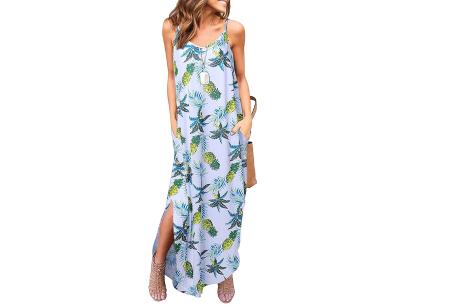 Maxi jurk met split | Lange zomerjurk in effen kleuren of vrolijke bloemenprintjes  #I