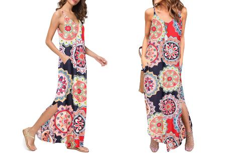 Maxi jurk met split | Lange zomerjurk in effen kleuren of vrolijke bloemenprintjes  #J
