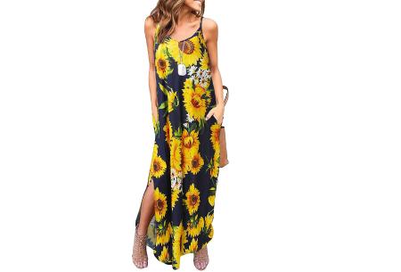 Maxi jurk met split | Lange zomerjurk in effen kleuren of vrolijke bloemenprintjes  #K