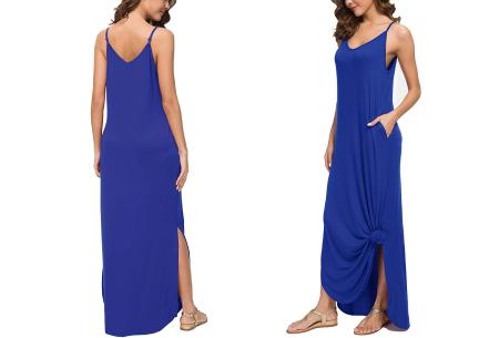 Maxi jurk met split | Lange zomerjurk in effen kleuren of vrolijke bloemenprintjes  Kobaltblauw