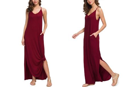 Maxi jurk met split | Lange zomerjurk in effen kleuren of vrolijke bloemenprintjes  Wijnrood