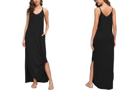 Maxi jurk met split | Lange zomerjurk in effen kleuren of vrolijke bloemenprintjes  Zwart