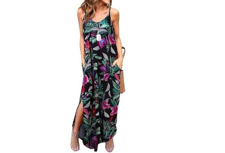 Maxi jurk met split | Lange zomerjurk in effen kleuren of vrolijke bloemenprintjes  #H