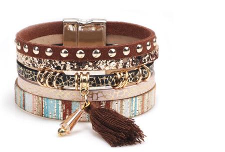 Ibiza armbanden | Zomerse armbandenset in Ibiza style A - Bruin