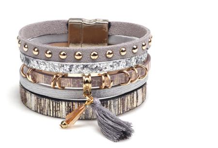 Ibiza armbanden | Zomerse armbandenset in Ibiza style A - Grijs