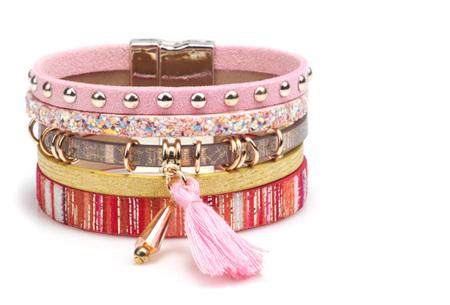 Ibiza armbanden | Zomerse armbandenset in Ibiza style A - Roze