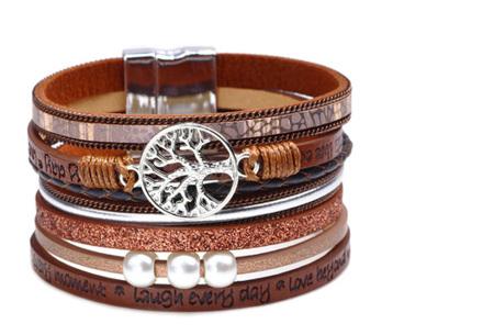 Ibiza armbanden | Zomerse armbandenset in Ibiza style B - Bruin