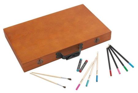 Tekendoos 88-delig | Complete tekenset in houten koffer met o.a. kleurpotloden, krijtjes en waterverf