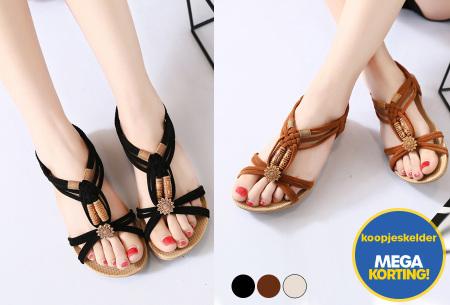 Stylish Boho slippers met comfortabel voetbed   Voor een zomerse bohemian look!