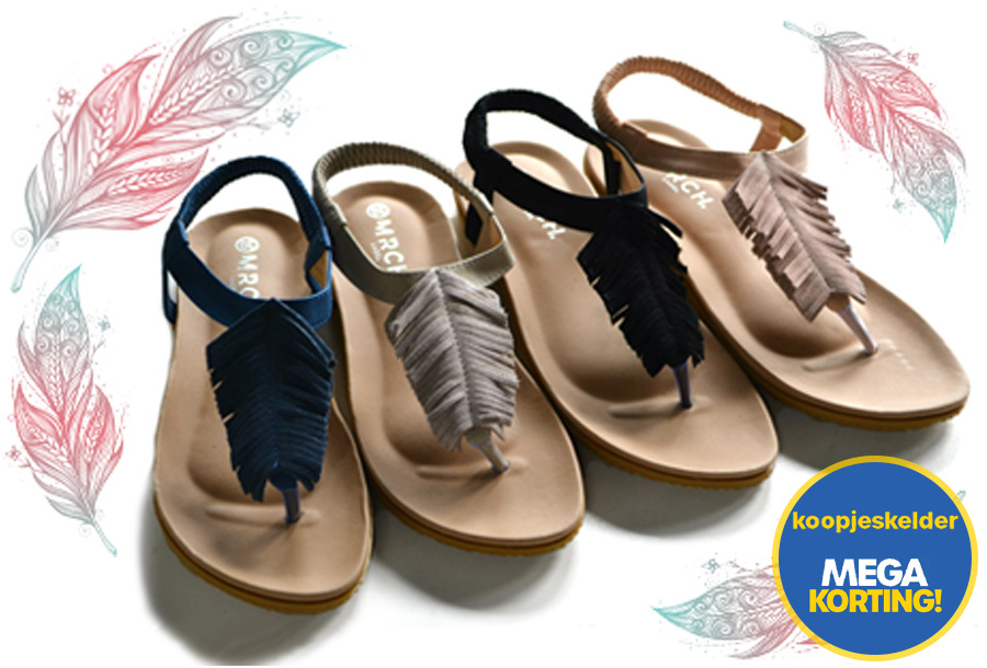 77% korting - Boho feather slippers