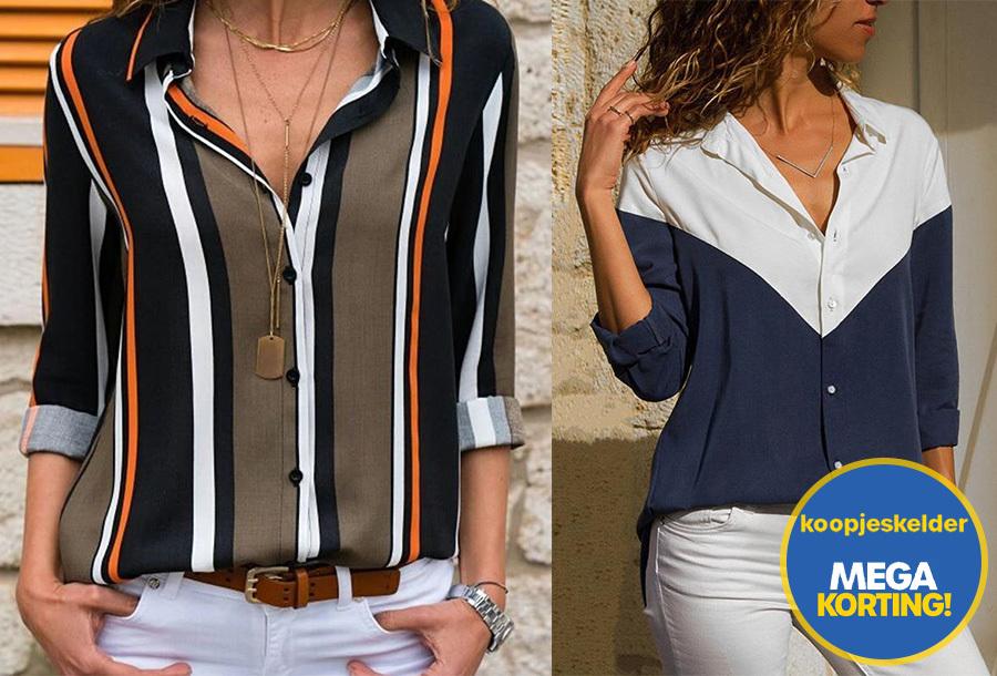 Multicolor blouse voor dames nu met korting
