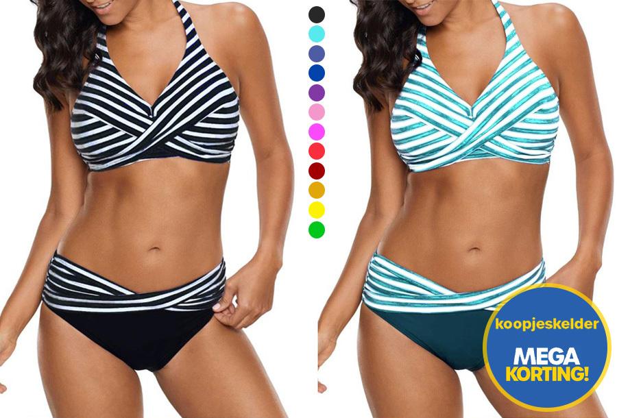 71% korting - Striped bikini