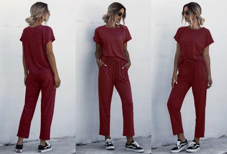 Dames joggingpak | Comfortabel trainingspak voor een hippe look wijnrood