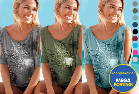 Open shoulder feather shirt | Leuke en stijlvolle top voor een spotprijs