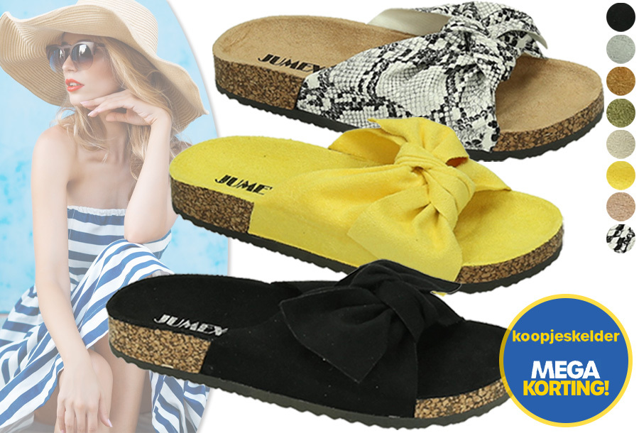 Suède look dames slippers in de sale