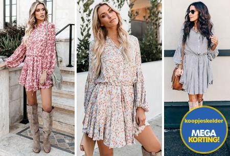 Blousejurk met pofmouwen | Trendy korte jurk in 7 printjes